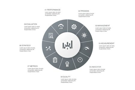 benchmarking Infographic 10 steps circle design.performance, process, management, indicator icons