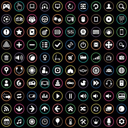game 100 icons universal set for web and UI. Stock fotó - 133750718