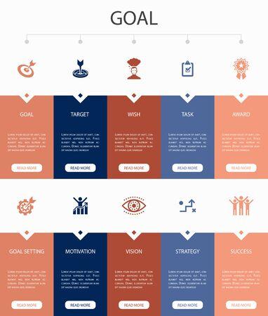 goal Infographic 10 option UI design.target, wish, task, goal settingsimple icons 일러스트