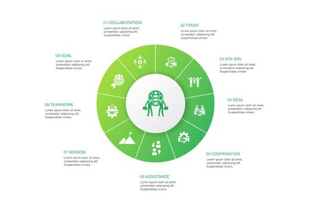 Partnership Infographic 10 steps circle design. collaboration, trust, deal, cooperation icons 일러스트