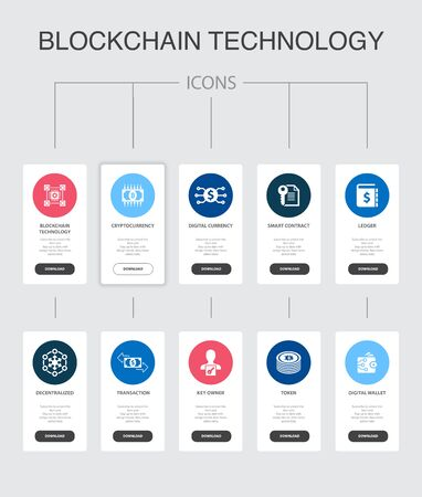 blockchain technology Infographic 10 steps UI design.cryptocurrency, digital currency, smart contract, transaction simple icons Illustration