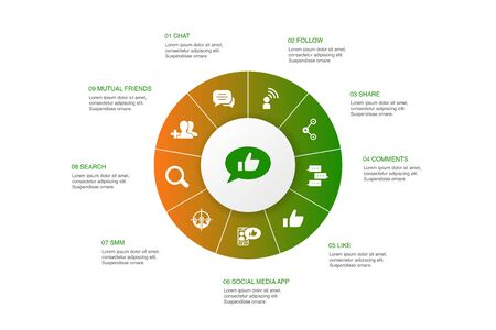 social media Infographic 10 option template.like, share, follow, comments icons