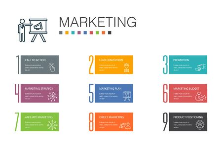 marketing Infographic 10 option line concept. call to action, promotion, marketing plan, marketing strategy icons Ilustração
