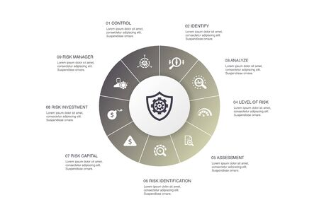 risk management Infographic 10 steps circle design. control, identify, Level of Risk, analyze icons Vectores