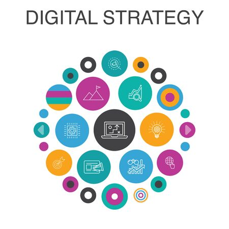 digital strategy Infographic circle concept. Smart UI elements internet, SEO, content marketing, mission 일러스트