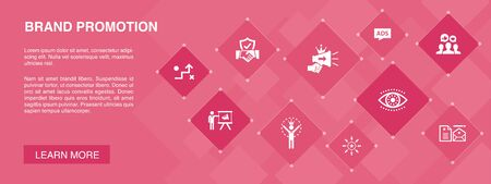 brand promotion banner 10 icons concept.strategy, marketing, personal brand, advertising icons  イラスト・ベクター素材