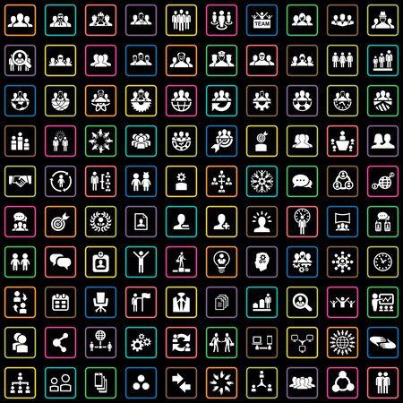teamwork 100 icons universal set for web and UI