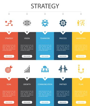 Strategy Infographic 10 option UI design. goal, growth, process, teamwork simple icons