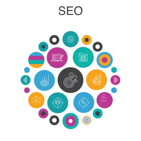 SEO Infographic circle concept. Smart UI elements Search engine, Target keywords, Web analytics, SEO monitoring