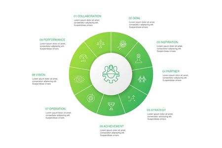 Teamwork Infographic 10 steps circle design.collaboration, goal, strategy, performance simple icons 일러스트