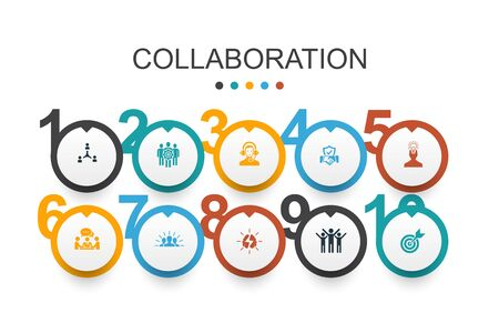 collaboration Infographic design template teamwork, support, communication, motivation icons