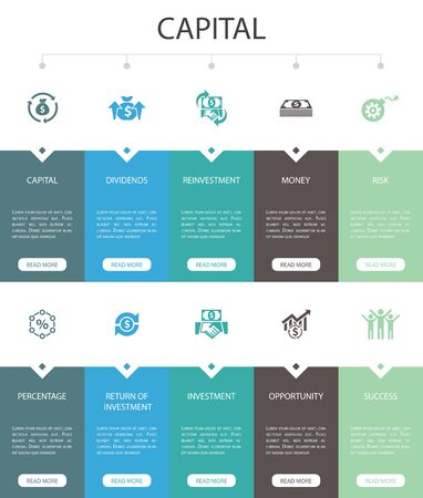 capital Infographic 10 option UI design.dividends, money, investment, success simple icons