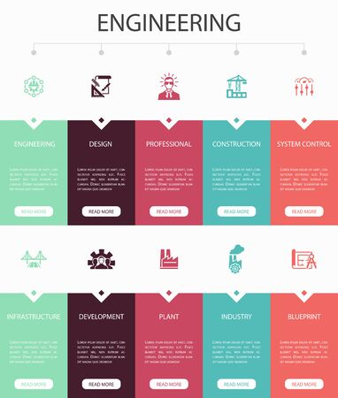 engineering Infographic 10 option UI design.design, professional, System Control, Infrastructure simple icons 版權商用圖片 - 133750764