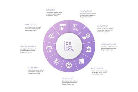 audit Infographic 10 steps circle design.review, standard, examine, process icons Ilustração