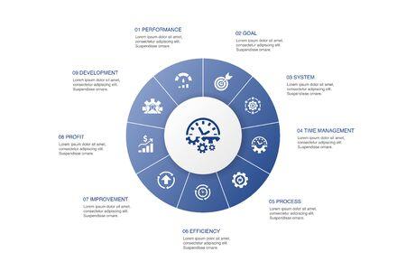 Productiviteit Infographic 10 stappen cirkel ontwerp. prestaties, doel, systeem, procespictogrammen Vector Illustratie