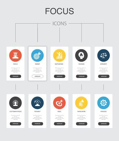 focus nfographic 10 steps UI design.target, motivation, integrity, process simple icons 向量圖像