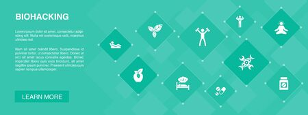 biohacking banner 10 icons concept.organic food, healthy sleeping, meditation, drugs icons