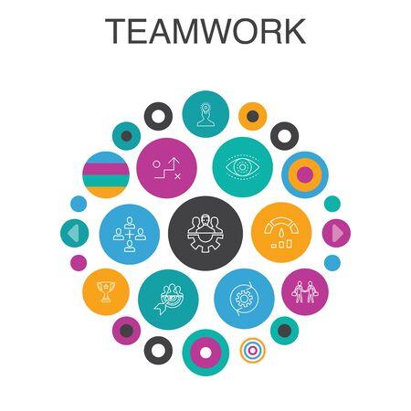 Teamwork Infographic circle concept. Smart UI elements collaboration, goal, strategy, performance 일러스트