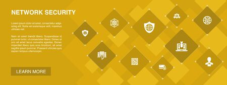 network security banner 10 icons concept.private network, online privacy, backup system, data protection icons