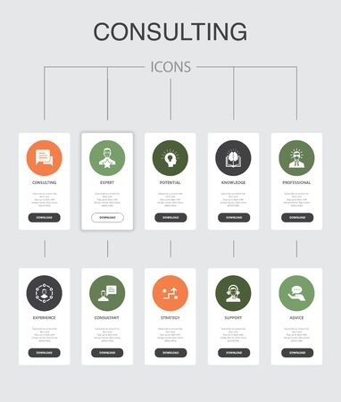 Consulting Infographic 10 steps UI design. Expert, knowledge, experience, consultant simple icons