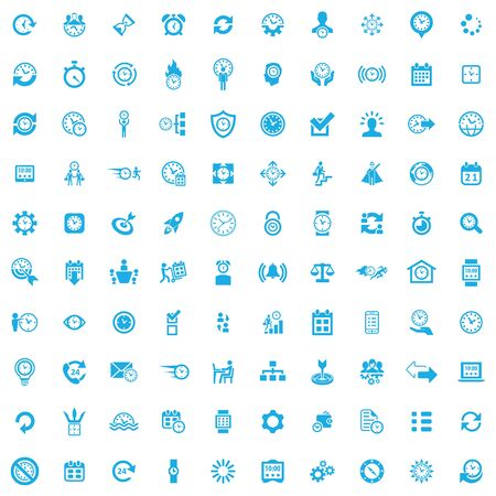 time management 100 icons universal set for web and UI