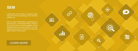 SEM banner 10 icons concept.Search engine, Digital marketing, Content, Internet icons