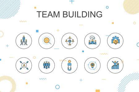 Modèle d'infographie à la mode de construction d'équipe. Conception fine avec collaboration, communication, coopération, chef d'équipe