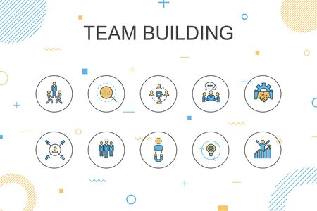 Team building trendy Infographic template. Thin line design with collaboration, communication, cooperation, team leader