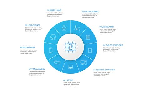Technology Infographic 10 steps circle design.smart home, photo camera, tablet computer, smartphone simple icons