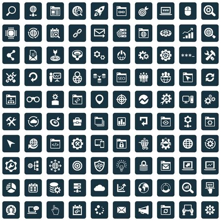 seo 100 icons universal set for web and UI.