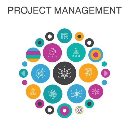 Project management Infographic circle concept. Smart UI elements Project presentation, Meeting, workflow, Risk management