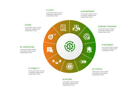 asset management Infographic 10 steps circle design.audit, investment, business, stability icons
