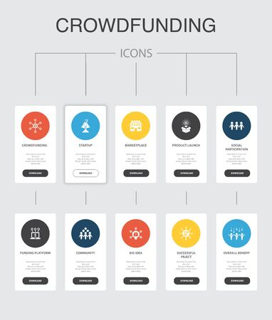 Crowdfunding Infographic 10 steps UI design.startup, product launch, funding platform, community simple icons