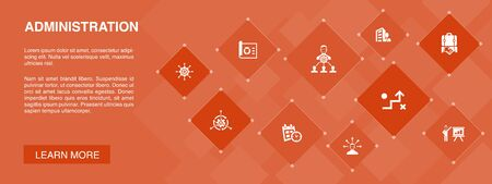 administration banner 10 icons concept.management, schedule, presentation, corporation icons