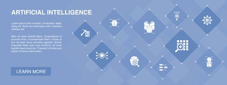 Artificial Intelligence banner 10 icons concept.Machine learning, Algorithm, Deep learning, Neural network icons