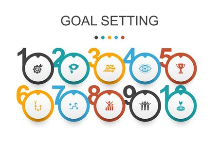 goal setting Infographic design template. dream big, action, vision, strategy icons