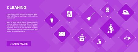 Cleaning banner 10 icons concept. broom, trash can, sponge, dry cleaning icons