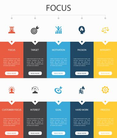 focus Infographic 10 option UI design.target, motivation, integrity, process simple icons