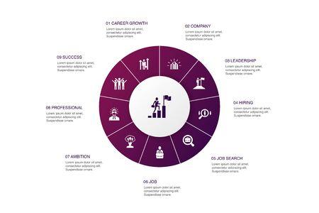 Career Infographic 10 steps circle design.company, leadership, hiring, job search icons