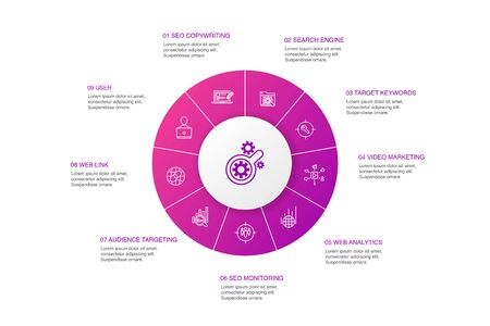 SEO Infographic 10 steps circle design.Search engine, Target keywords, Web analytics, SEO monitoring simple icons