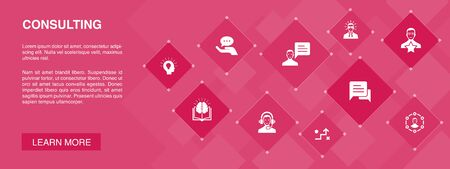Consulting banner 10 icons concept.Expert, knowledge, experience, consultant icons