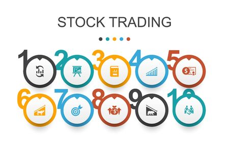 stock trading Infographic design template. bull market, bear market, annual report, target icons Illustration