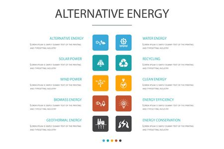 Alternative energy Infographic 10 option concept.Solar Power, Wind Power, Geothermal Energy, Recycling icons Vettoriali