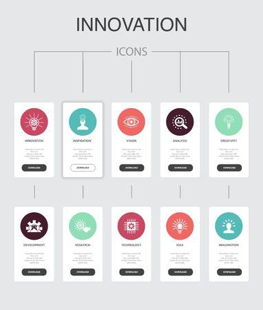 Innovation nfographic 10 étapes UI design.inspiration, vision, créativité, développement des icônes simples
