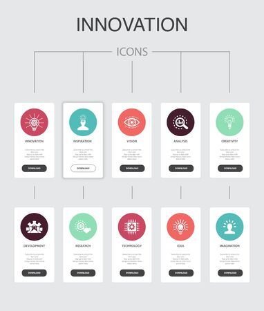 Innovation nfographic 10 steps UI design.inspiration, vision, creativity, development simple icons