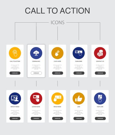 Call To Action Infographic 10 steps UI design.download, click here, subscribe, contact us simple icons Illustration