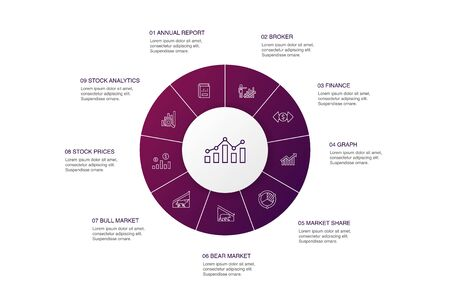 Stock market Infographic 10 steps circle design.Broker, finance, graph, market share simple icons
