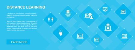 Distance Learning banner 10 icons concept. online education, webinar, learning process, video course icons Illustration