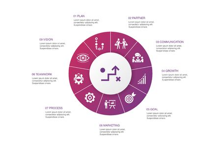 Strategy Infographic 10 steps circle design.goal, growth, process, teamwork icons