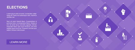 Elections banner 10 icons concept. Voting, Ballot box, Candidate, Exit poll icons